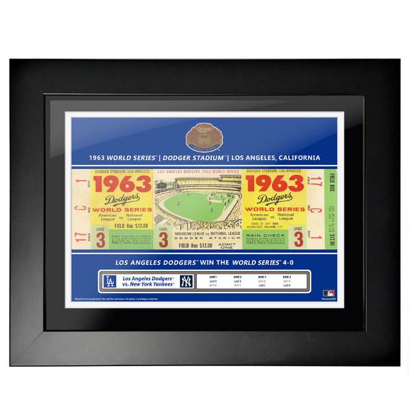Los Angeles Dodgers 1963 World Series Framed 18 x 14 Ticket