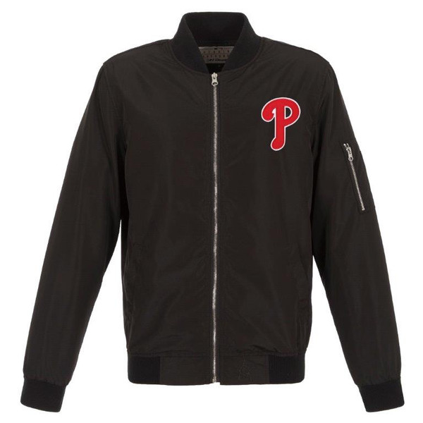 Men's JH Design Philadelphia Phillies Black Lightweight Nylon Bomber Jacket