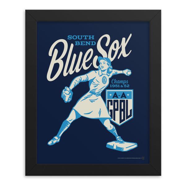 Teambrown South Bend Blue Sox Artwork Framed 8 x 10 Print