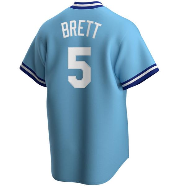 Men's Nike George Brett Kansas City Royals Cooperstown Collection Light Blue Jersey