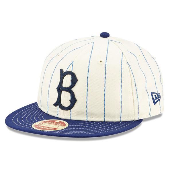 Men's New Era Heritage Series Retro Crown Dark Blue Pinstripe 1949 – 1957 Brooklyn Dodgers 9FIFTY Adjustable Cap