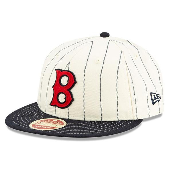 Men's New Era Heritage Series Retro Crown Navy Pinstripe 1946 – 1953 Boston Red Sox 9FIFTY Adjustable Cap