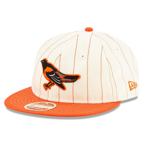 Men's New Era Heritage Series Retro Crown Orange Pinstripe 1989 – 1997 Baltimore Orioles 9FIFTY Adjustable Cap