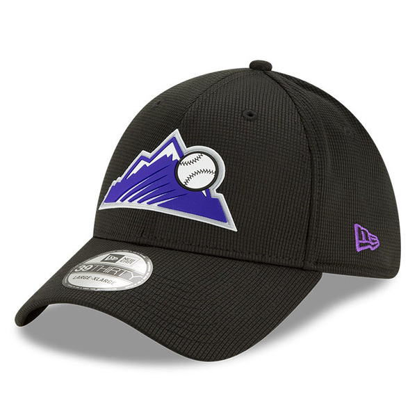 Men's New Era Colorado Rockies 39THIRTY Flex Fit Black Clubhouse Cap