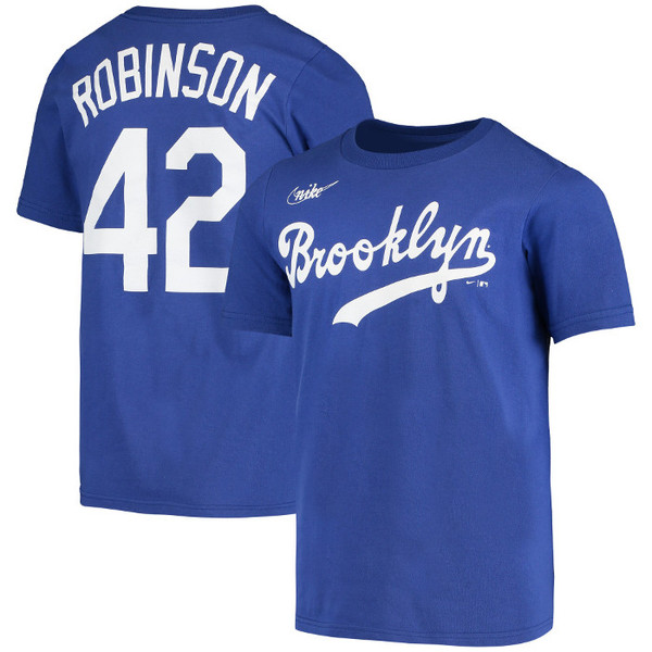 Youth Nike Jackie Robinson Brooklyn Dodgers Royal Name & Number T-Shirt
