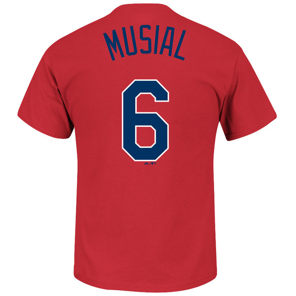 Men's Majestic Stan Musial St. Louis Cardinals Red Name & Number T-Shirt (navy font)