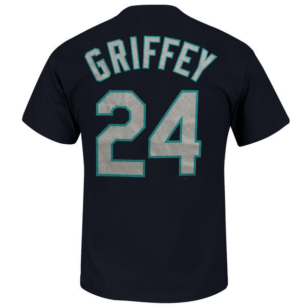 Youth Majestic Ken Griffey Jr. Seattle Mariners Navy Name & Number T-Shirt
