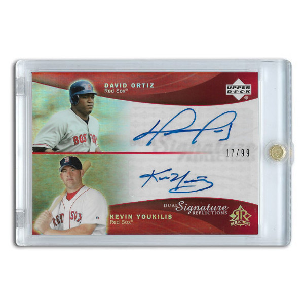 David Ortiz and Kevin Youkilis Autographed Card 2005 Upper Deck Dual Signature Reflections #DOKY
