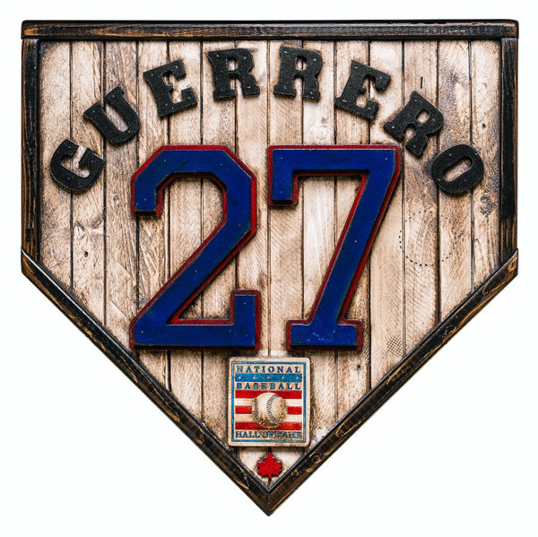 Vladimir Guerrero Hall of Fame Vintage Distressed Wood 17 Inch Legacy Home Plate Ltd Ed of 250
