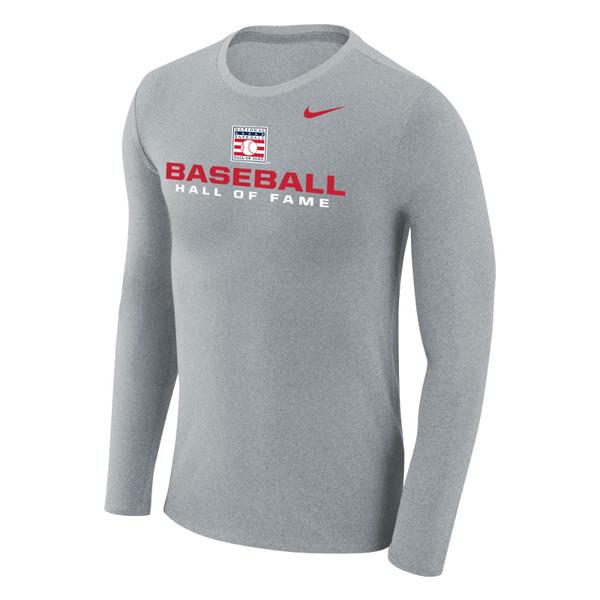 Men's Nike Baseball Hall of Fame Grey Marled Long Sleeve T-Shirt