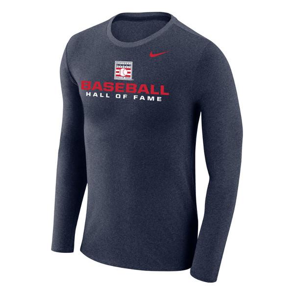 Men's Nike Baseball Hall of Fame Navy Marled Long Sleeve T-Shirt