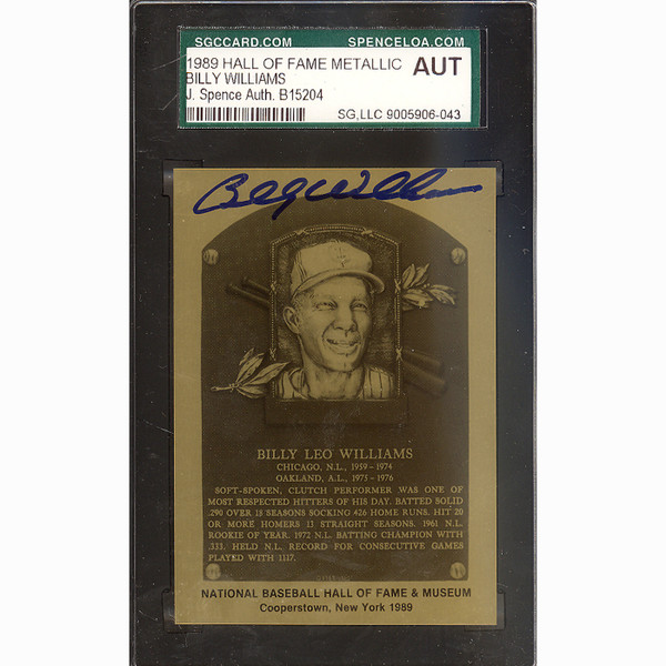 Billy Williams Autographed Metallic Hall of Fame Plaque Card (JSA)