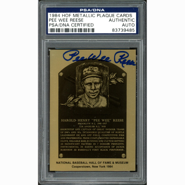 Pee Wee Reese Autographed Metallic Hall of Fame Plaque Card (PSA)