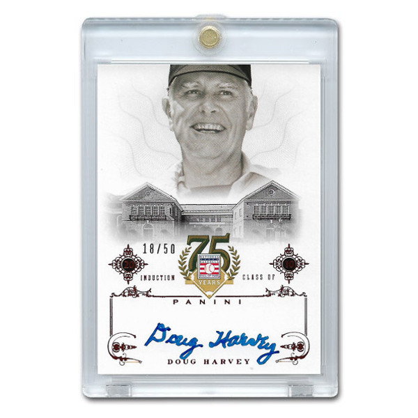 Doug Harvey Autographed Card 2014 Panini Cooperstown HOF 75th Anniversary Red # 19 Ltd Ed of 50