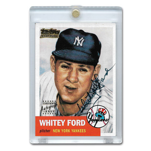 Whitey Ford Autographed Card 2001 Topps Team Legends (black)