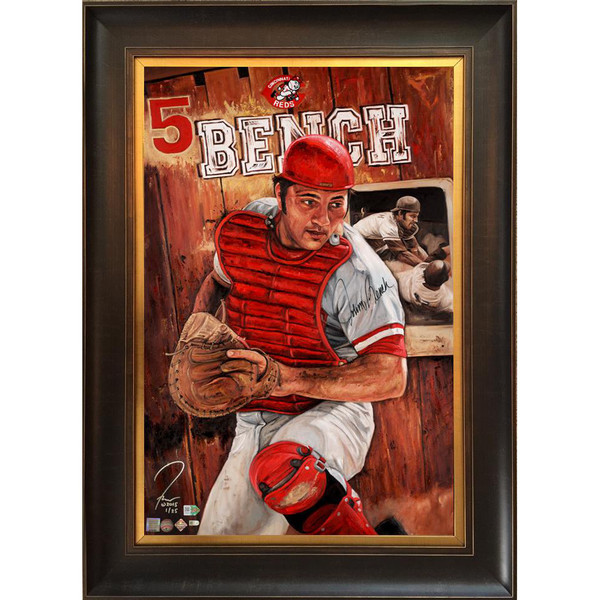 Johnny Bench 'Guardian of Cincity' Autographed Limited Edition of 25 Framed 24 x 36 Canvas Giclee (Justyn Farano)