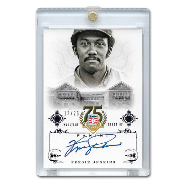 Fergie Jenkins Autographed Card 2014 Panini Cooperstown HOF 75th Anniversary Blue # 81 Ltd Ed of 25