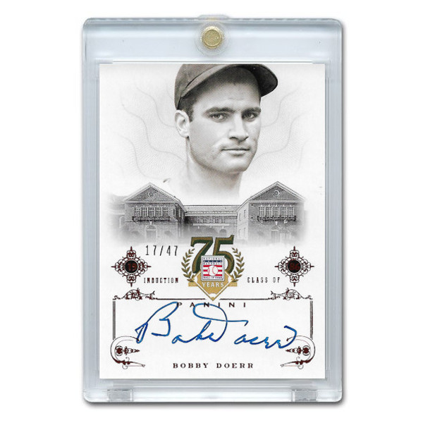 Bobby Doerr Autographed Card 2014 Panini Cooperstown HOF 75th Anniversary Red # 9 Ltd Ed of 47