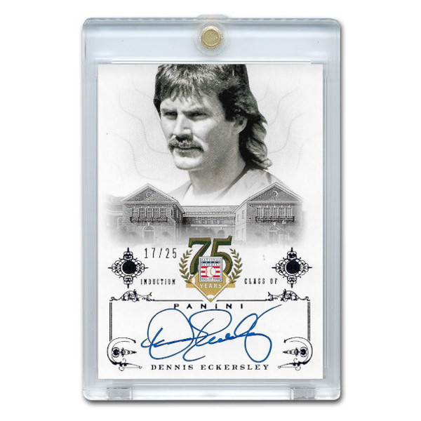 Dennis Eckersley Autographed Card 2014 Panini Cooperstown HOF 75th Anniversary Blue # 16 Ltd Ed of 25