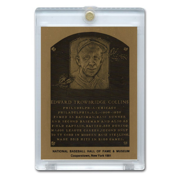 Eddie Collins 1981 Hall of Fame Metallic Plaque Card
