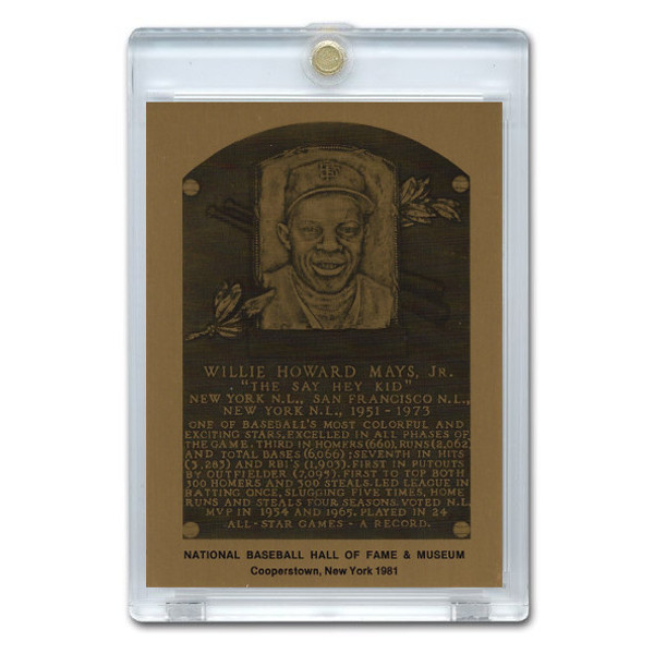 Willie Mays 1981 Hall of Fame Metallic Plaque Card