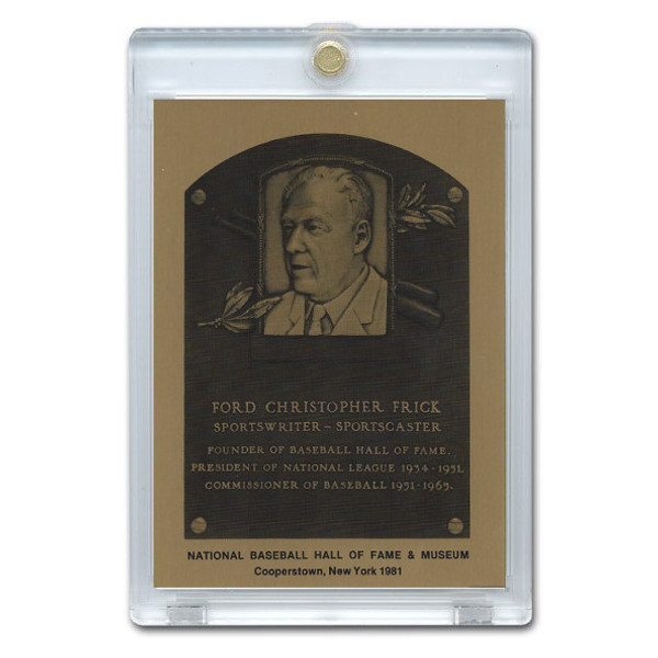 Ford Frick 1981 Hall of Fame Metallic Plaque Card