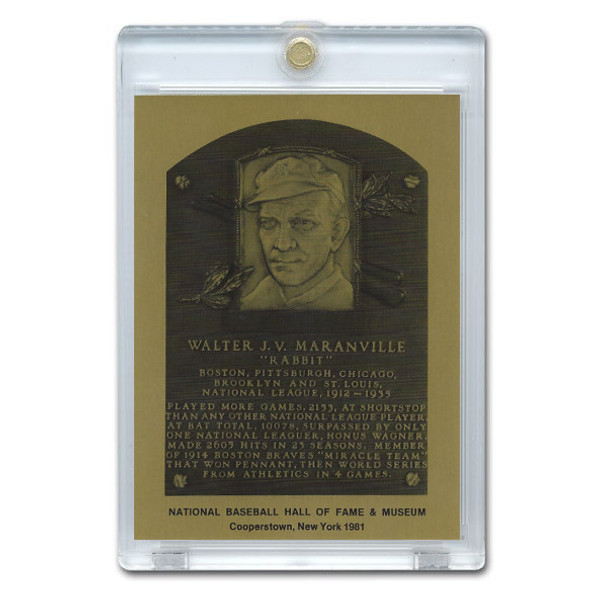 Rabbit Maranville 1981 Hall of Fame Metallic Plaque Card
