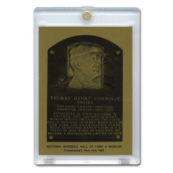 Tom Connolly 1981 Hall of Fame Metallic Plaque Card