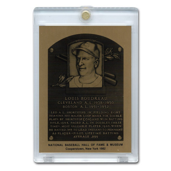 Lou Boudreau 1982 Hall of Fame Metallic Plaque Card