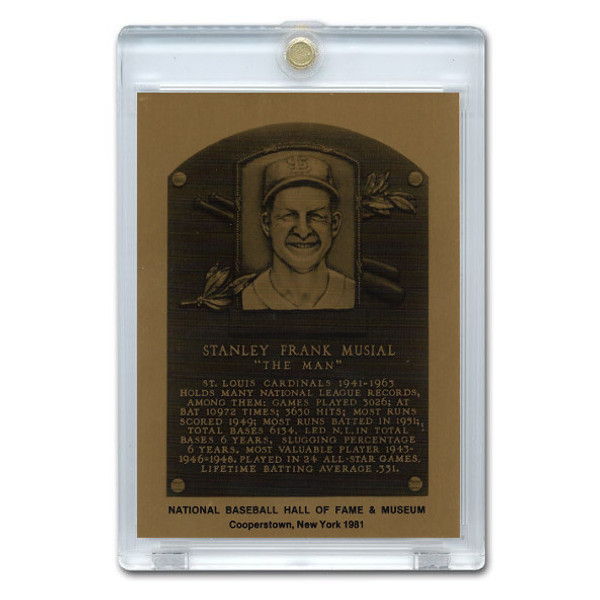 Stan Musial 1981 Hall of Fame Metallic Plaque Card