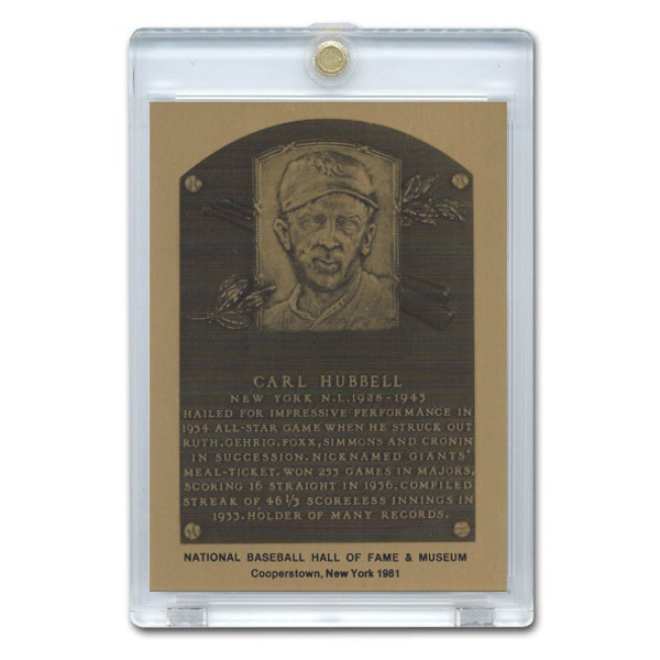 Carl Hubbell 1981 Hall of Fame Metallic Plaque Card