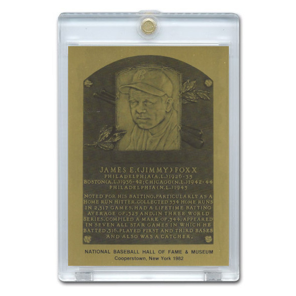 Jimmie Foxx 1982 Hall of Fame Metallic Plaque Card
