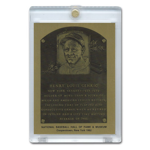 Lou Gehrig 1982 Hall of Fame Metallic Plaque Card