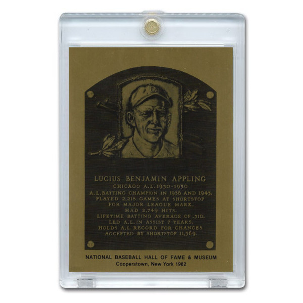 Luke Appling 1982 Hall of Fame Metallic Plaque Card