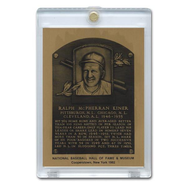 Ralph Kiner 1982 Hall of Fame Metallic Plaque Card