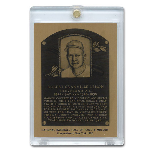 Bob Lemon 1982 Hall of Fame Metallic Plaque Card