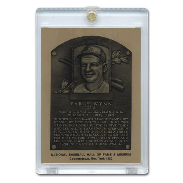 Early Wynn 1982 Hall of Fame Metallic Plaque Card