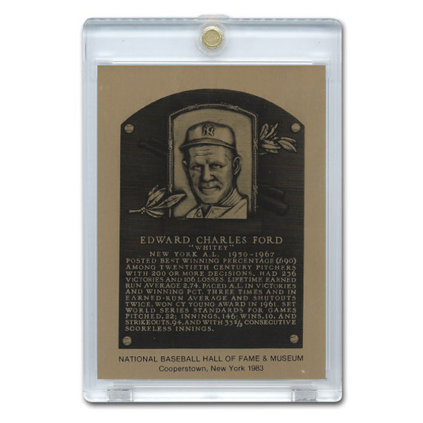 Whitey Ford 1983 Hall of Fame Metallic Plaque Card