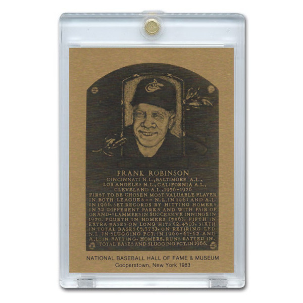 Frank Robinson 1983 Hall of Fame Metallic Plaque Card