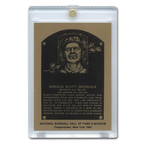 Don Drysdale 1984 Hall of Fame Metallic Plaque Card