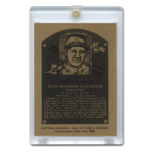 Enos Slaughter 1986 Hall of Fame Metallic Plaque Card