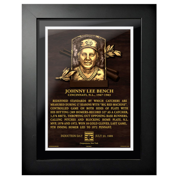 Johnny Bench Baseball Hall of Fame 18 x 14 Framed Plaque Art