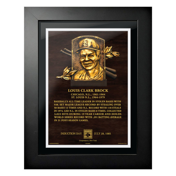 Lou Brock Baseball Hall of Fame 18 x 14 Framed Plaque Art