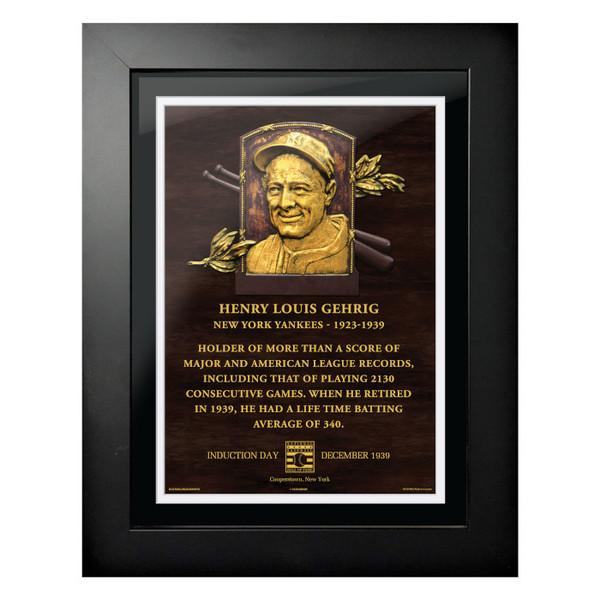 Lou Gehrig Baseball Hall of Fame 18 x 14 Framed Plaque Art