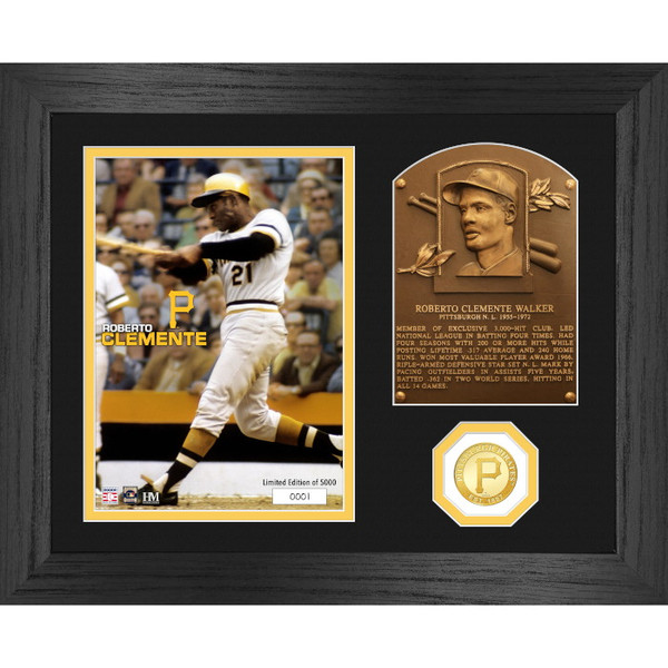 Highland Mint Roberto Clemente Hall of Fame Plaque Bronze Coin 13 x 16 Photo Mint