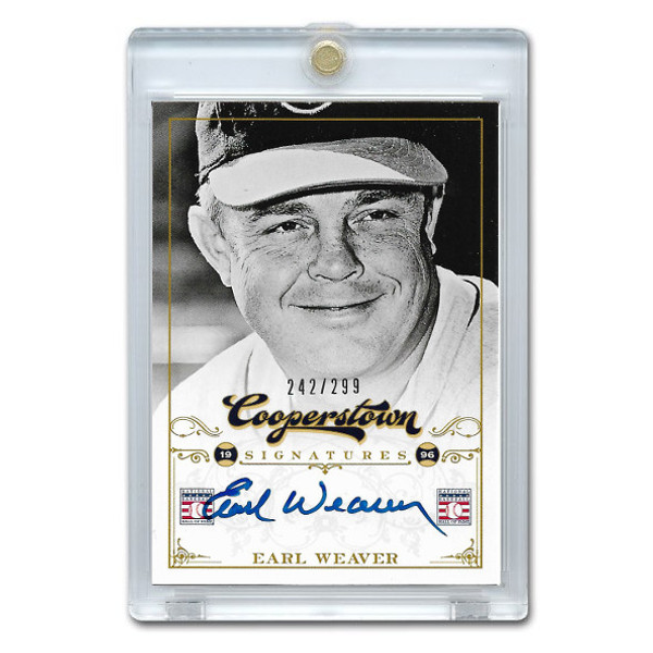 Earl Weaver Autographed Card 2012 Panini Cooperstown Ltd Ed of 299