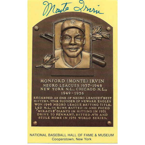 Monte Irvin Autographed Hall of Fame Plaque Postcard (JSA)