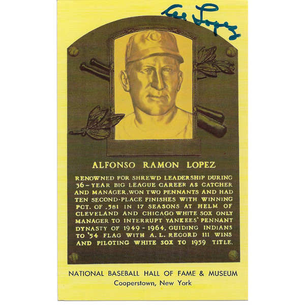 Al Lopez Autographed Hall of Fame Plaque Postcard (JSA-13)