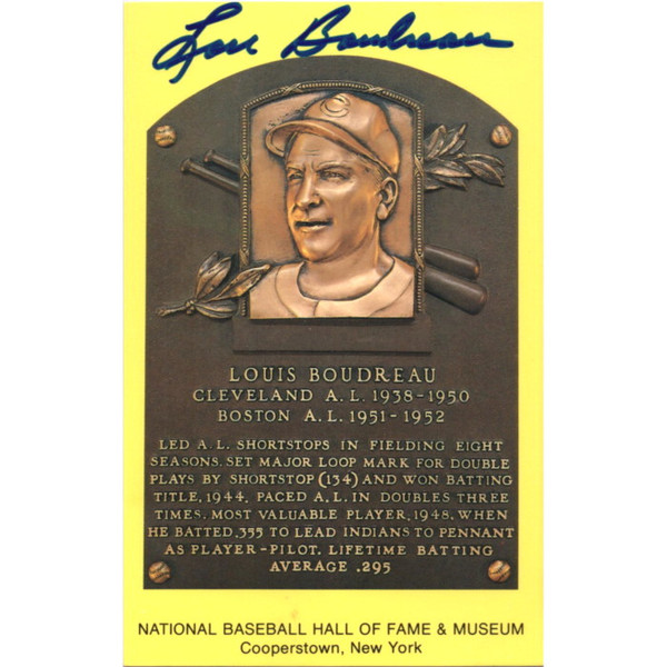 Lou Boudreau Autographed Hall of Fame Plaque Postcard (JSA-59)
