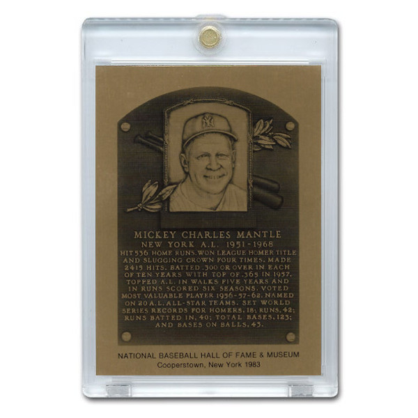 Mickey Mantle 1983 Hall of Fame Metallic Plaque Card